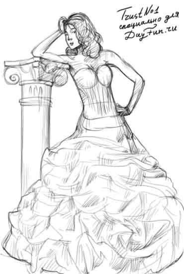 c0d51e932ab Как рисовать красивые рисунки платьев. Как рисовать платья карандашом. Как  нарисовать девушку в платье поэтапно в полный рост.