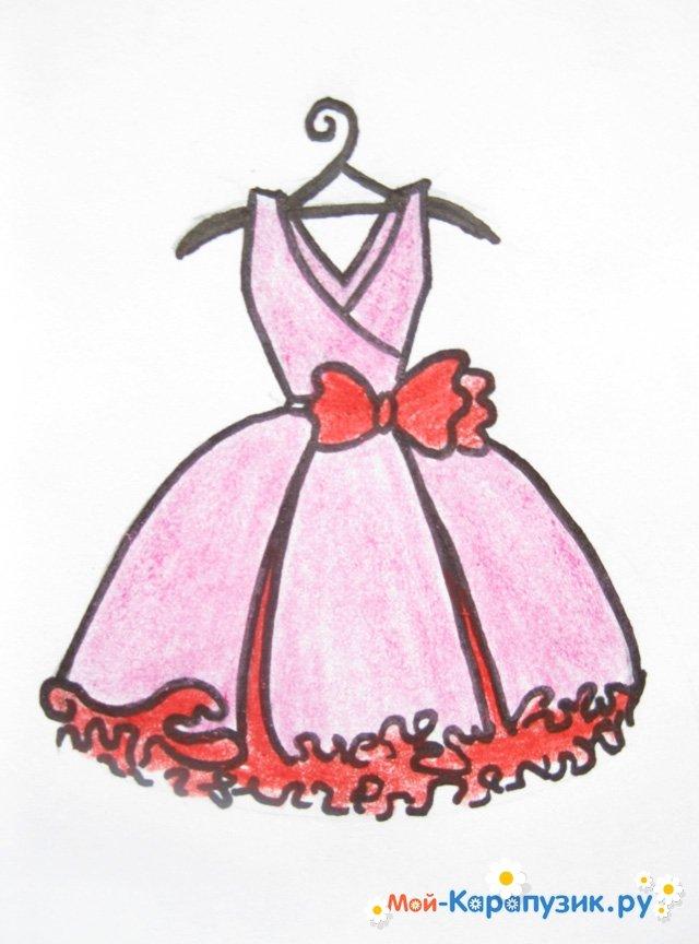 1f5a453c386 Как нарисовать платье карандашом поэтапно. Рисуем карандашом красивое  длинное платье принцессы. Рисование платья - видео.